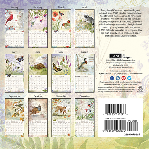The 2022 'Field Guide' wall calendar by Lang is now here at The Backyard Naturalist! (back)
