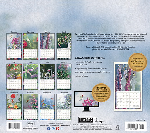 Hummingbirds wall calendar for 2022 is in stock NOW at The Backyard Naturalist Store in Olney, MD.(back)