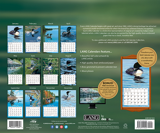 2022 'Loons on the Lake' wall calendar by Lang is here at The Backyard Naturalist store. (back)