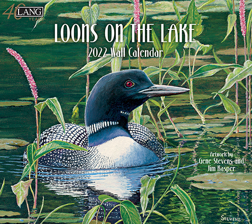 2022 'Loons on the Lake' wall calendar by Lang is here at The Backyard Naturalist store. (front)