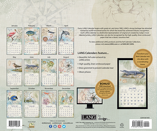 2022 Wall Calendar 'Shoreline' by Lang is in stock at The Backyard Naturalist store. (back)