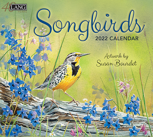 Popular favorite 'Songbirds' wall calendar is back for 2022 and in stock at The Backyard Naturalist in Olney, MD. (front)