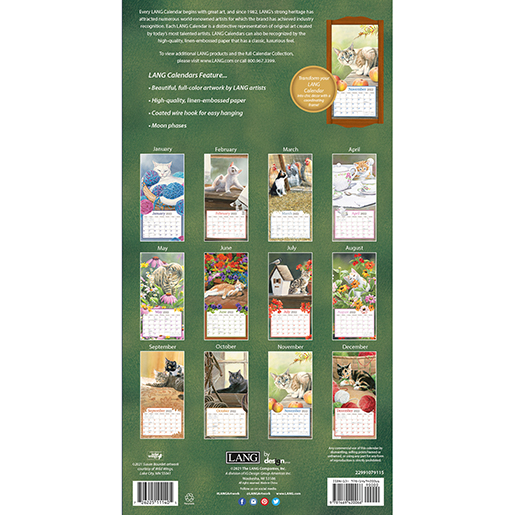 'Cats in the Country' 2022 tall wall calendar is here at The Backyard Naturalist! (back)