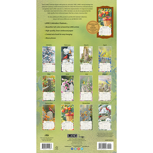 2022 'Songbirds' tall wall calendar by Lang is now arrived at The Backyard Naturalist in Olney, MD. (back)