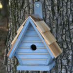 The Backyard Naturalist has many bird house styles available, like this Chickadee House in Pinion Blue.
