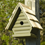 The Backyard Naturalist has many bird house styles available, like this Chickadee House in Pinion Green.
