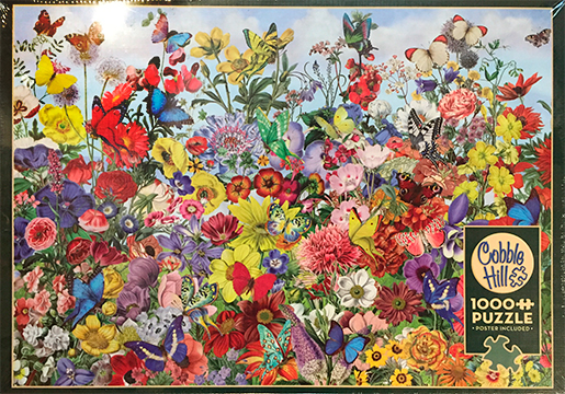 The Backyard Naturalist stocks a wide selection of jigsaw puzzles, from 1000 piece Cobble Hill to wood block puzzles for toddlers. This is Cobble Hill's 'Butterfly Garden'.'.