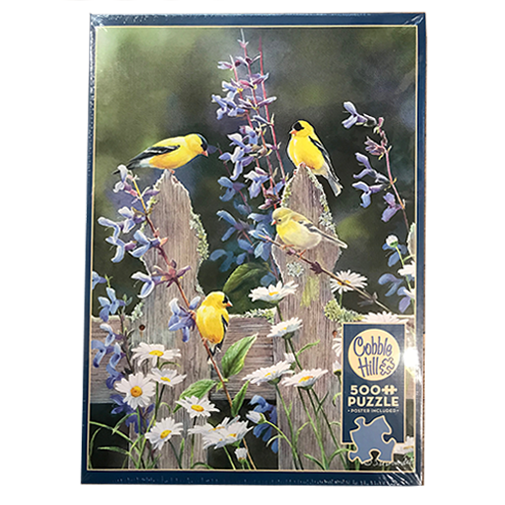TheBYN has 500 piece family jigsaw puzzles, including 'Goldfinch Quartet'.