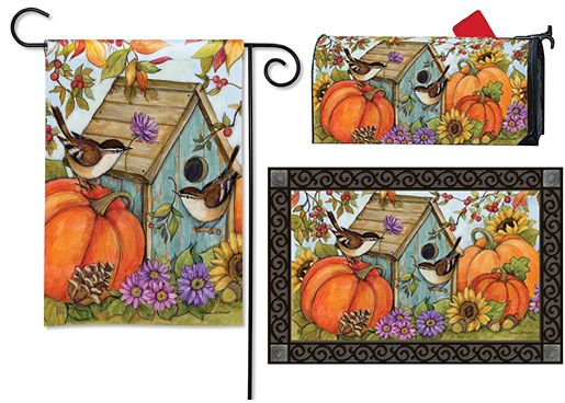 The Backyard Naturalist has the area's best selection of decorative yard flags, magnetic mailbox wraps and doormats in seasonal, holiday and nature themes, like this Autumn Bird House with Wrens style.