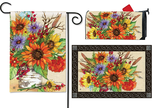 The Backyard Naturalist has the area's best selection of decorative yard flags, magnetic mailbox wraps and doormats in seasonal, holiday and nature themes, like this colorful Autumn Floral design .