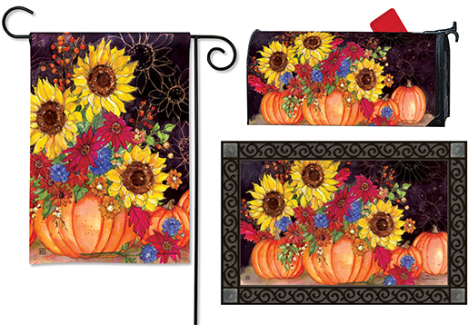The Backyard Naturalist has the area's best selection of decorative yard flags, magnetic mailbox wraps and doormats in seasonal, holiday and nature themes, like this Fall Pumpkins and Sunflowers design.