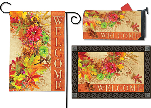The Backyard Naturalist has the area's best selection of decorative yard flags, magnetic mailbox wraps and doormats in seasonal, holiday and nature themes, like this Welcome Autumn Wreath design.