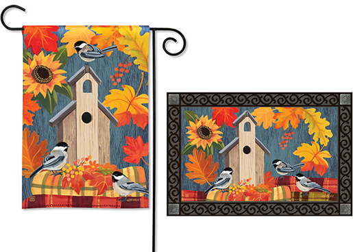 The Backyard Naturalist has the area's best selection of decorative yard flags, magnetic mailbox wraps and doormats in seasonal, holiday and nature themes, like this Autumn Bird House with Chickadees style.
