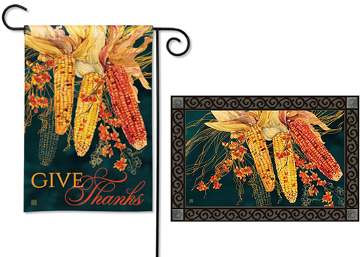 The Backyard Naturalist has the area's best selection of decorative yard flags, magnetic mailbox wraps and doormats in seasonal, holiday and nature themes, like this Autumn Native Corn or Maize 'Give Thanks' Thanksgiving style.