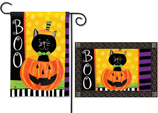 The Backyard Naturalist has the area's best selection of decorative yard flags, magnetic mailbox wraps and doormats in seasonal, holiday and nature themes, like this Halloween Surprise Book Kitty in a Jack-o-Lantern design.