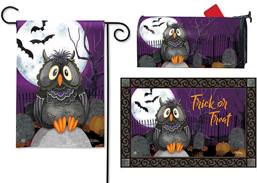 The Backyard Naturalist has the area's best selection of decorative yard flags, magnetic mailbox wraps and doormats in seasonal, holiday and nature themes, like this Halloween Midnight Owl 'Trick or Treat' design.