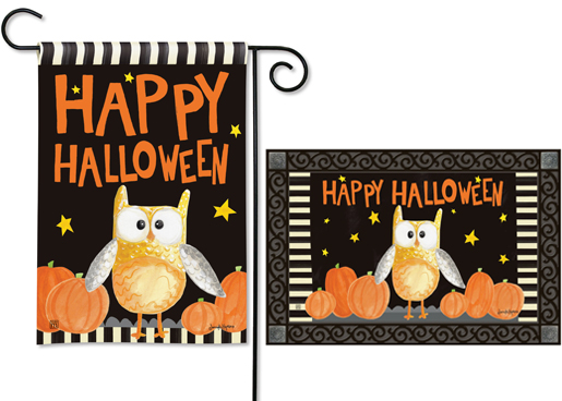 The Backyard Naturalist has the area's best selection of decorative yard flags, magnetic mailbox wraps and doormats in seasonal, holiday and nature themes, like this Halloween Night Owl design.