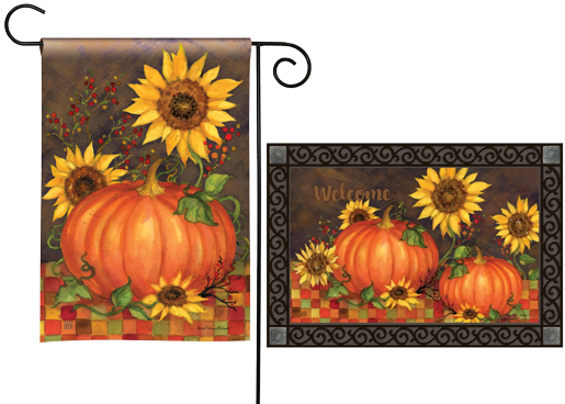 The Backyard Naturalist has the area's best selection of decorative yard flags, magnetic mailbox wraps and doormats in seasonal, holiday and nature themes, like this Autumn Indian Summer Pumpkins with Sunflowers design.