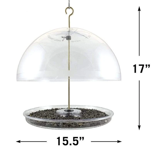 The Backyard Naturalist recommends Droll Yankees Dorothy's Cardinal Feeder with adjustable dome, dimensions as shown.