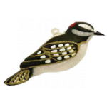 The Backyard Naturalist has Cobane Glass BIrd Holiday Ornament, Downy Woodpecker