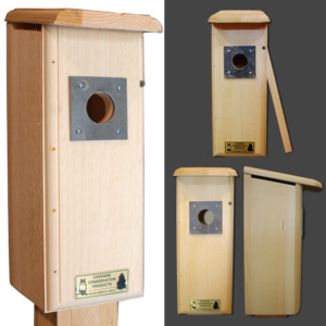 The Backyard Naturalist carries the Conservation nest boxes, like this one for Downy Woodpeckers