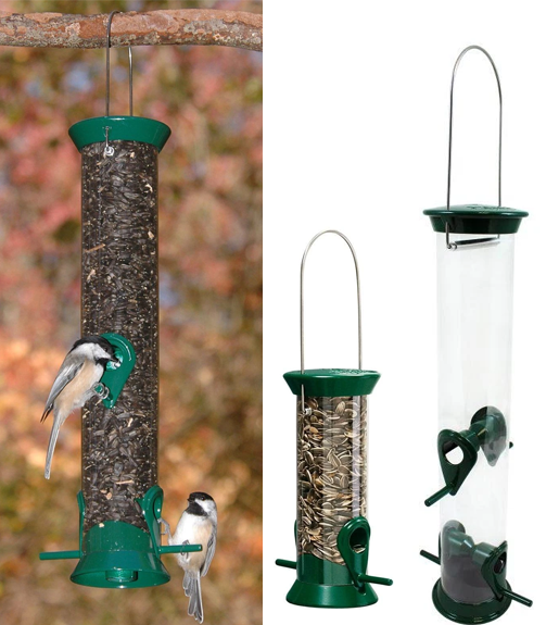 The Backyard Naturalist often recommends Droll Yankees New Generation Feeders as great starter feeders for beginners. This is the Sunflower Seed feeder.