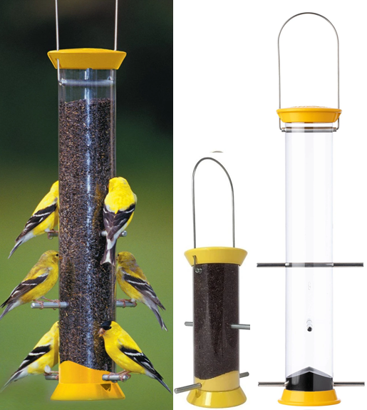 The Backyard Naturalist often recommends Droll Yankees New Generation Feeders as great starter feeders for beginners. This is the Nyjer / Thistle Finch feeder.