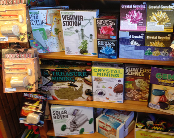 The Backyard Naturalist has earth science kits that include gold mining, treasure hunting, crystal growing, weather stations, fossils, gem mining, solar-powered rovers and many more.