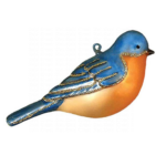 The Backyard Naturalist has Cobane Glass BIrd Holiday Ornament, Eastern Bluebird