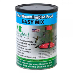 The Backyard Naturalist's Easy Mix Clear Hummingbird Food, in a 24 oz can, makes 3.75 quarts of Hummingbird nectar.