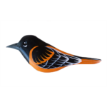 The Backyard Naturalist has Gary Starr's hand carved and painted wild bird ornaments, including Baltimore Oriole