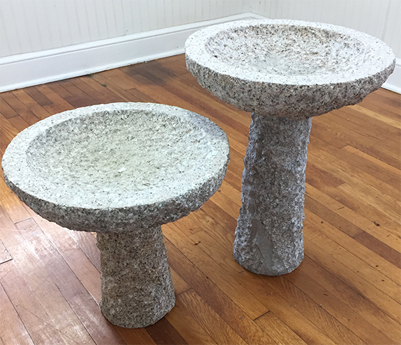 The Backyard Naturalist has granite bird baths in two sizes. Natural texture and colors and weatherproof for winter.