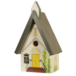 "The Backyard Naturalist's hand painted bird house 'Country Church' is made by Pennsylvania Dutch of untreated first quality 3/4"" pine, covered with two coats of durable, outdoor sealer and is easily accessible for cleaning and maintenance."