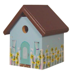 "The Backyard Naturalist's hand painted bird house 'Dream House' is made by Pennsylvania Dutch of untreated first quality 3/4"" pine, covered with two coats of durable, outdoor sealer and is easily accessible for cleaning and maintenance."