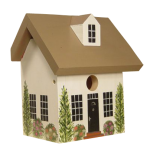 "The Backyard Naturalist's hand painted bird house 'Farm House' is made by Pennsylvania Dutch of untreated first quality 3/4"" pine, covered with two coats of durable, outdoor sealer and is easily accessible for cleaning and maintenance."