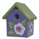 "The Backyard Naturalist's hand painted bird house 'Purple Bouquet' is made by Pennsylvania Dutch of untreated first quality 3/4"" pine, covered with two coats of durable, outdoor sealer and is easily accessible for cleaning and maintenance."