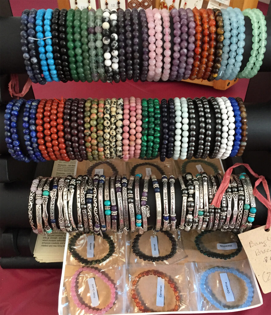 The Backyard Naturalist's Holiday Annex 2020, details of Semi-Precious Gemstone Bracelets and Bangles.