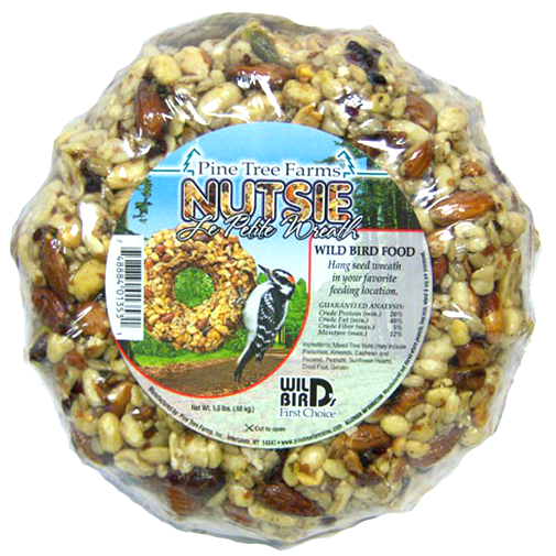 The Backyard Naturalist has Wild Bird Food Holiday Wreaths, Ornaments and Garlands in stock, including Le Petit Nutsie Holiday Wreath