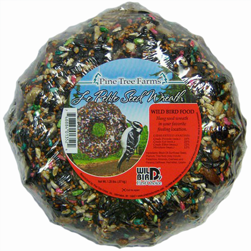 The Backyard Naturalist has Wild Bird Food Holiday Wreaths, Ornaments and Garlands in stock, including Le Petit Seed Wreath.