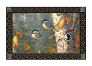 he Backyard Naturalist Holiday Flag Selection for 2020 includes 'Chickadee Trio' door mat