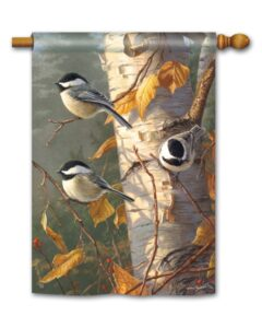 he Backyard Naturalist Holiday Flag Selection for 2020 includes 'Chickadee Trio' standard size house flag