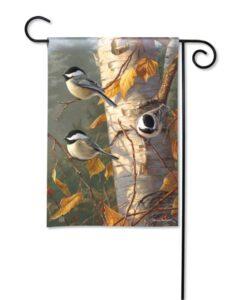 he Backyard Naturalist Holiday Flag Selection for 2020 includes 'Chickadee Trio' garden flag