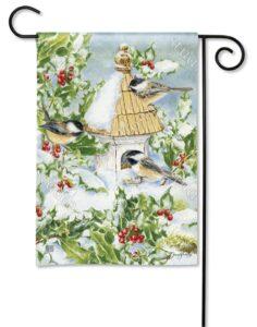he Backyard Naturalist Holiday Flag Selection for 2020 includes 'Chickadee Welcome' garden yard flag'