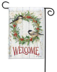 he Backyard Naturalist Holiday Flag Selection for 2020 includes 'Chickadee Wreath''  garden flag