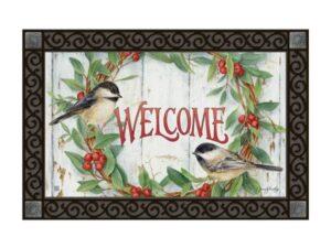 he Backyard Naturalist Holiday Flag Selection for 2020 includes 'Chickadee Wreath''  door mat