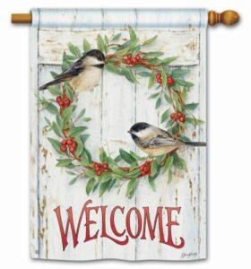he Backyard Naturalist Holiday Flag Selection for 2020 includes 'Chickadee Wreath' standard house flag'