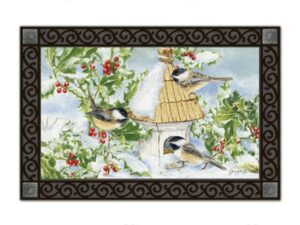 he Backyard Naturalist Holiday Flag Selection for 2020 includes 'Chickadee Welcome'  door mat