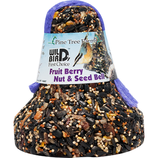 The Backyard Naturalist stocks Wild Bird Food Bells  in a variety of Nuts, Seeds and Dried Fruits, including the Fruit, Nut and Seed Bell.