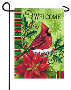 The Backyard Naturalist Holiday Flag Selection for 2020 includes Welcome Cardinal with Poinsettia Yard Flag