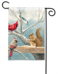 The Backyard Naturalist Holiday Flag Selection for 2020 includes this winter scene with Squirrel, Cardinals and Wren sharing bird seed on a fence rail